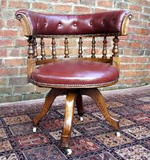 antique oak and hide swivel seat desk chair antique office chair