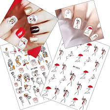 <b>Abstract Line Sexy Girl</b> 3D Nail Stickers Red Cool Umbrella <b>Woman</b> ...