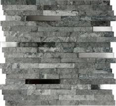 kitchen backsplash stainless steel tiles: sample gray natural stone stainless steel insert mosaic tile kitchen backsplash ebay