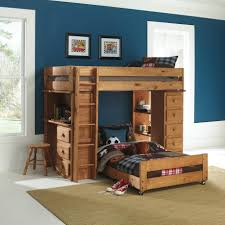 f natural polished mahogany wood bunk bed with ladder and dresser also study desk plus shelves combined with rounded stool and brown carpet with children bed and desk combo furniture