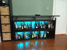 charming black floating liquor cabinet ikea made of wood with led on wooden floor matched with black mini bar home