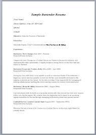 ms word sample resumes   sample resume     bartender resume
