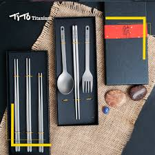 TiTo gift package <b>titanium</b> chopsticks spoon with fork or <b>titanium</b> ...