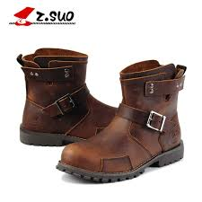 Z. Suo <b>Genuine</b> Leather <b>Men</b> Boots Vintage <b>Motorcycle Boots Men</b> ...