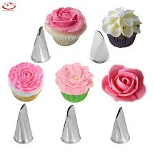 <b>5Pcs</b>/<b>Set</b> Stainless <b>Steel</b> Icing Piping Nozzles <b>Flower</b> Petal Cake ...
