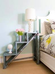 pale blue bedroom wall painting idea also awesome small bedside table with ladder shape and pretty awesome small bedside table