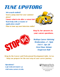 walk in advising career and professional development virginia tech flyer for printing posting