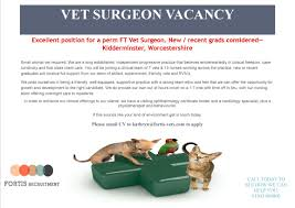 worchestershire fortis vets perm vet surgeon required kidderminster worcestershire