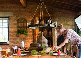 incredible furniture rustic farmhouse dining room decoration with red exposed brick wall and creative hanging round elegant chandeliers chandelier style dining room lighting