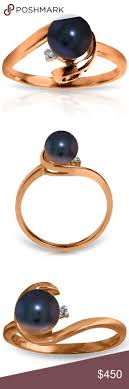 SOLID GOLD RING WITH <b>NATURAL</b> DIAMOND & <b>BLACK PEARL</b> ...