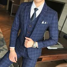 <b>Men</b> Wedding Dress <b>Formal Wear</b> Suits Blue <b>Plaid</b> Slim Suits ...