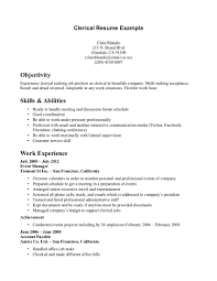 clerical sample resumes template clerical sample resumes