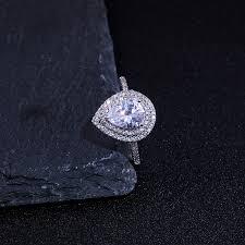 <b>Huitan</b> Water Drop <b>Wedding Ring Band</b> Trendy Pear Shaped Cubic ...