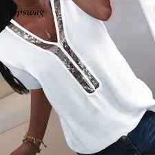 2019 <b>Lipswag Women S 5XL V Neck</b> Sequins Blouse Shirt Elegant ...