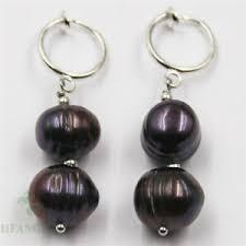 11-<b>12mm huge black</b> Baroque Pearl Earrings 18k silver Classic ...