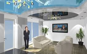 three dimensional design of the plasterboard ceilings and stretched ceilings in office ceiling designs for office