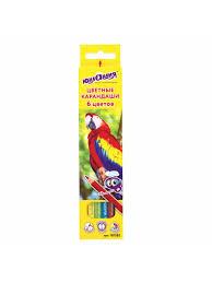 <b>Карандаши цветные Мир</b> животных, 6 цветов, классические ...