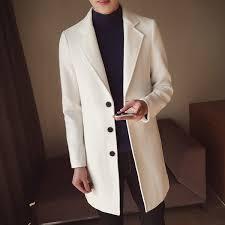<b>Men'S Medium Long Woolen Windbreaker</b> Pure Color Free Ironing ...