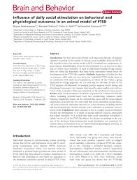 (PDF) Influence of daily <b>social</b> stimulation on behavioral and ...