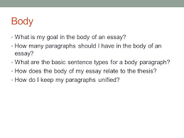 building an essay  basic essay structure mr jernigan    ppt downloadbody what is my goal in the body of an essay  how many paragraphs should