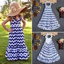 2-9Y <b>Kids Girls</b> Halter Dresses White Blue <b>Wave Summer</b> Boho Maxi ...