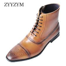 <b>ZYYZYM Men Boots</b> Leather Side Zipper Lace Up Men High Top ...