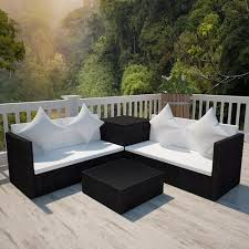 5 <b>Piece Garden Lounge</b> Set with Cushions Poly Rattan Grey ...