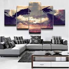 Modular Art Painting <b>HD Printed</b> Frame Home Decor <b>5 Panel</b> Anime ...