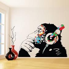 <b>Banksy Vinyl Wall Decal</b> Monkey With Headphones - Colorful Chimp ...
