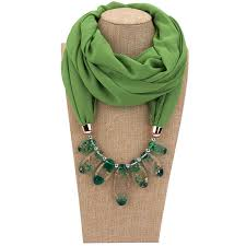 <b>2019</b> Multi Style Jewelry <b>Necklace Scarf</b> Solid Color <b>Chiffon</b> Resin ...