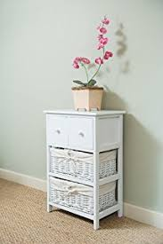 white storage unit wicker: shabby chic white  drawer tall bedside unit with wicker storage