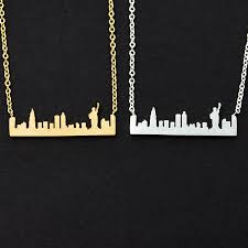 Statue of Liberty Necklaces Stainless Steel <b>New York Skyline</b> ...