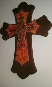 iron wall cross love: beautiful wooden wall cross with iron amp ceramic by bstreetboutique