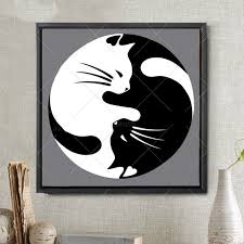Yin Yang Cat Diamond Embroidery, Full, Round/square past region ...
