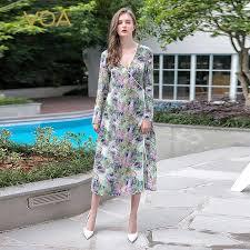 <b>VOA</b> 2018 <b>Autumn</b> Long Sleeve Green Silk Nightdress Simple ...