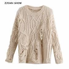 Sexy V neck <b>Tassel</b> Hem Irregular Sweater 2018 Vintage New ...