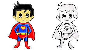 How to Draw <b>Superhero Superman Cute</b> Step by Step - YouTube