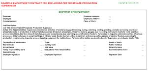 phosphate production supervisor job titledefluorinated phosphate production supervisor employment contract