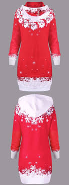 <b>Christmas Santa Print</b> Kangaroo Pocket Hooded Dress | Casual ...