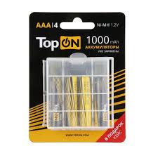 Аккумуляторные батарейки <b>AAA TopON</b> TOP-NH-<b>AAA</b>-1000-4B ...
