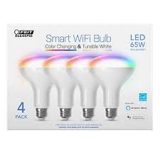 Feit Electric <b>Wi-Fi</b> Smart Bulb <b>BR30 Color</b> Changing, 4-pack