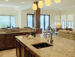 Architecture  Fascinating Open Floor Plans For Your New Home Ideas    Immaculate Open Kitchen Ideas   Pendant Light Over Large Kitchen Island Marble Countertop Plus White Wall