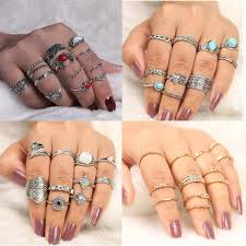 <b>Bohemian Retro Crown Crystal</b> Ring Knuckle Wedding Ring Set ...