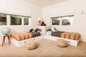 1960s malibu inspired new construction transitional kids room idea in other biege study twin kids study room