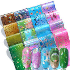 <b>16Pcs</b>/<b>Set</b> Holographic <b>Nail Foils</b> Transfer Sticker <b>Waterdrop</b> ...