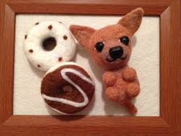 Needle felted wool <b>Chihuahua</b> and <b>donuts</b> in photo frame dog ...