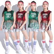 Kids Jazz <b>Dance</b> Costumes Tops Shorts Set Sequin <b>Hip Hop Street</b> ...