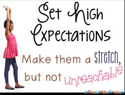 in the middle set your expectations high from day 1 set your expectations high from day 1