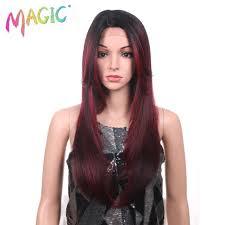 <b>Magic</b> Long 24Inch <b>Straight Hair</b> Synthetic Lace Front <b>Wigs</b> Black ...