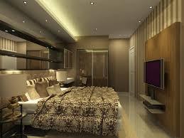 harmonious brown bedroom deco with apartment lighting ideas